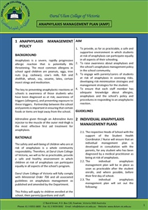 Anaphylaxis Management Policy